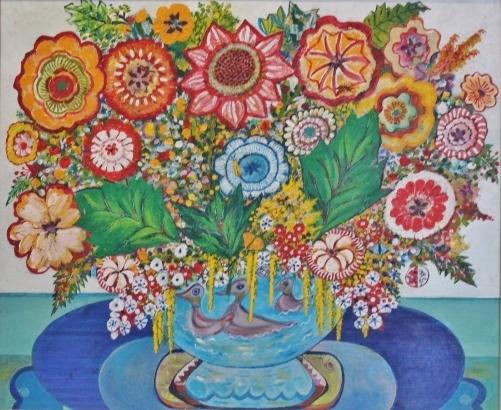 Blauwe Vaas met Drie Eendjes